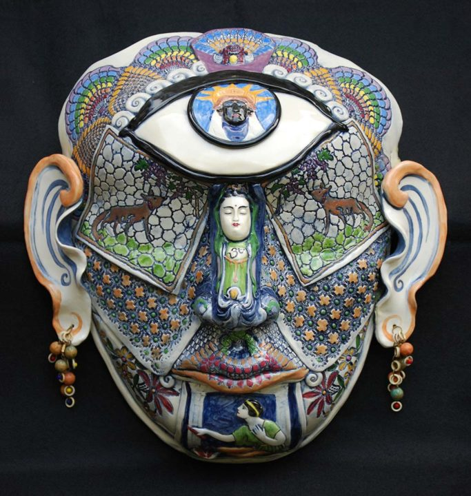 Cyclops, 2012 Earthenware with impressions of lace, underglaze colors, vintage beads, 20 x 20 in.