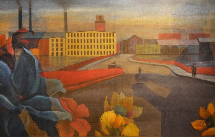 Flowers in The Factory, 2015 Fabric dye on cotton gauze, oil on canvas, 36 x 62 in.