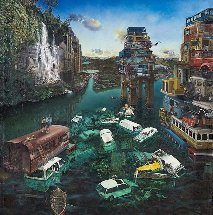Metropolis y Orillas, 2006 Oil on canvas, 70 x 60 in