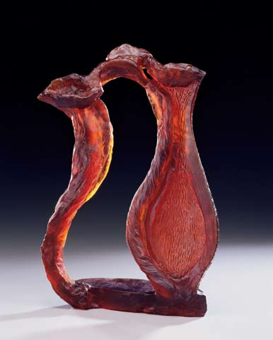 Carved Vase with Silhouette, James Watkins, 2008 Cast glass 18 x 12 x 4 in.