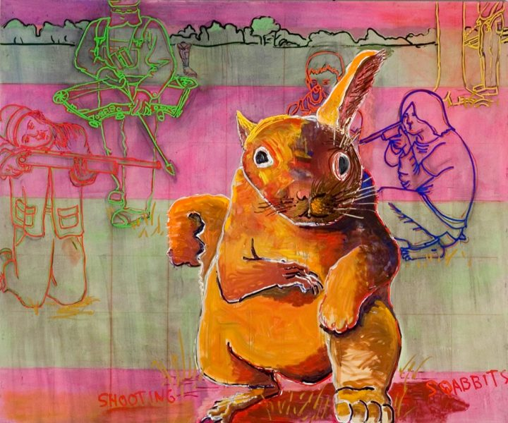 Shooting Squabbits, 2010 Oil and acrylic, 90 x 108 in.
