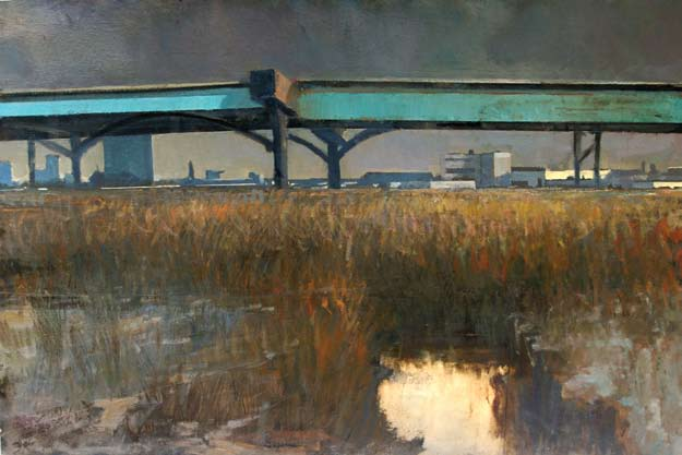 Gowanus, Sunday, 2007 Oil on wood 36 x 52 in. Lent by the artist