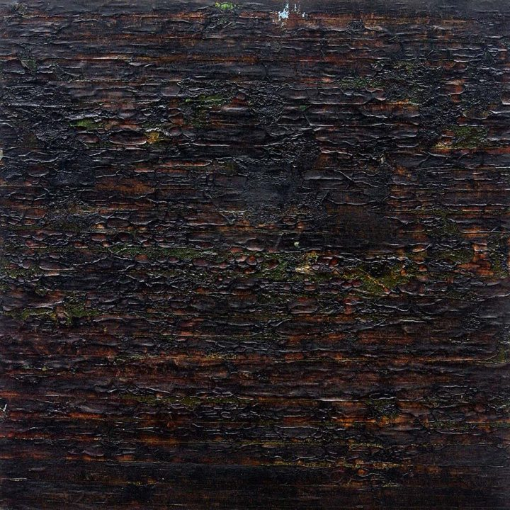 Black Painting #2, 2004 From the Scorched Earth series Mixed media on panel, 24 x 24 in.