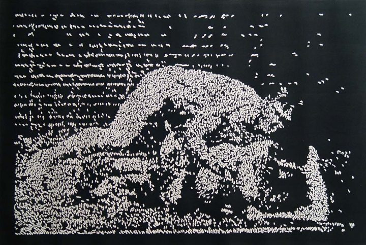 Untitled (after Francis Bacon after Eadweard Muybridge), 2009 Black ink relief and embossing on paper, 24 x 36 in.