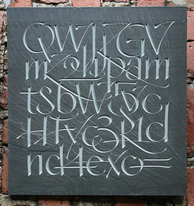 Base64, 2, 2016 V-cut Buckingham, Virginia cleft slate, 19 x 18 x 3/4 in.