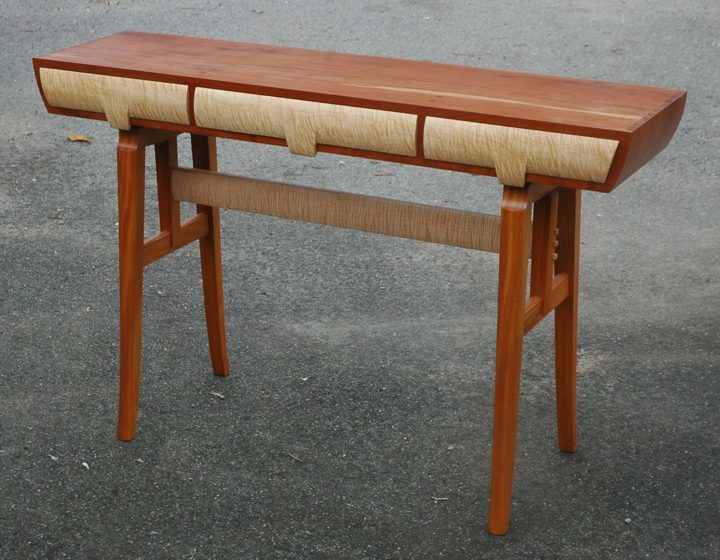 Hall Table, 2015 South Florida mahogany and curly sugar maple, 34 x 60 x 16 in.