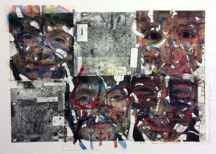Grandkids, 2016 Collagraph painting, 60 x 96 in.