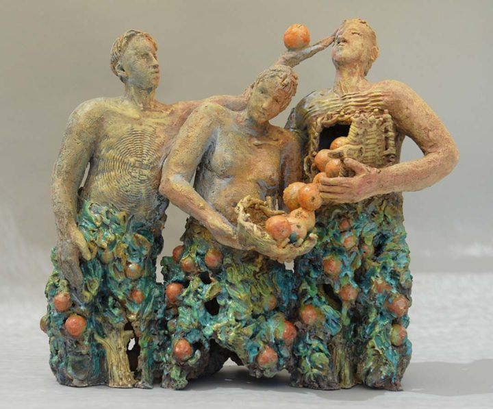 "Ojai Harvest, 2009 ""Once Fired"" stoneware, 24 x 34 x 8 in."